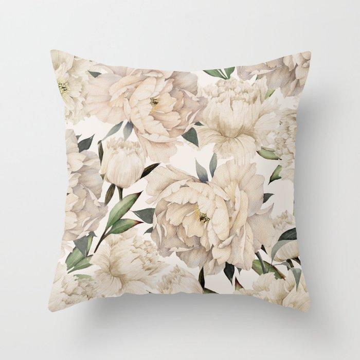 Peonies Pattern Throw Pillow