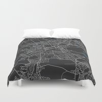 edinburgh Duvet Covers featuring Edinburgh city map black colour by MCartography