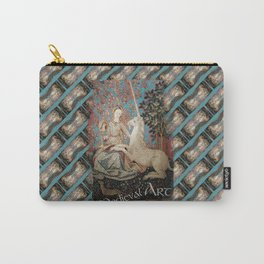 Medieval Art - Lady and the Unicorn in Turquoise 2 Carry-All Pouch