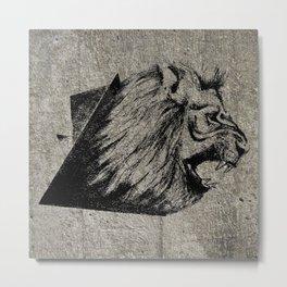 Angry Concrete Lion Metal Print