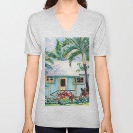 Tropical Vacation Cottage Unisex V-Neck