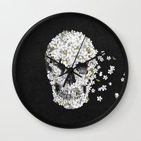 death Wall Clocks featuring A Beautiful Death - mono by Terry Fan