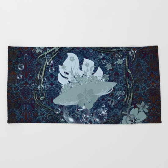Surfing, surfboard with flowers Beach Towel