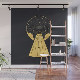 Retro design of flying ufo ship and human silhouette Wall Mural