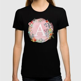 Flower Wreath with Personalized Monogram Initial Letter A on Pink Watercolor Paper Texture Artwork T-shirt