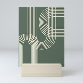 Minimalist Lines in Forest Green Mini Art Print