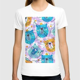 cute floral and bears pattern T-shirt