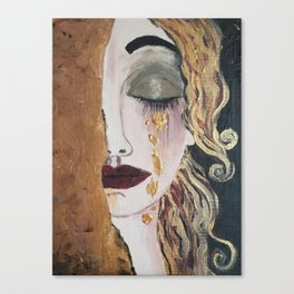 Woman in gold, Painting, Acrylic, The kiss, Kiss, Klimt inspired, Golden age Canvas Print