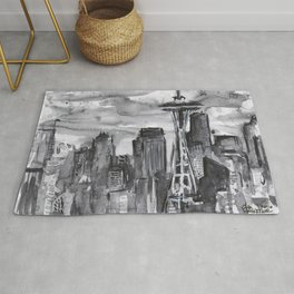 Seattle Skyline Watercolor Space Needle Washington PNW Rug