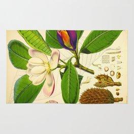 Vintage Botanical Scientific Flower Illustration White Flower Green Leaves Rug