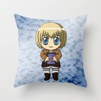 shingeki no kyojin Throw Pillows featuring Shingeki no Kyojin - Chibi Armin by Tenki Incorporated