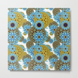 Graphic Fractal Flower Pattern Metal Print