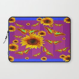 Modern Blue-Purple Sunflower Butterfly Collage Design Laptop Sleeve
