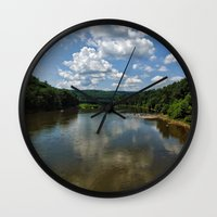 river song Wall Clocks featuring Song of the Delaware River by PamelasDreams
