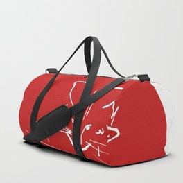 Relaxing Cat in red circle Duffle Bag