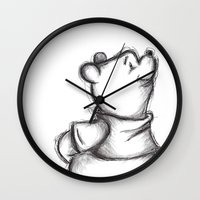 pooh Wall Clocks featuring Insightful Pooh by Makayla Wilkerson