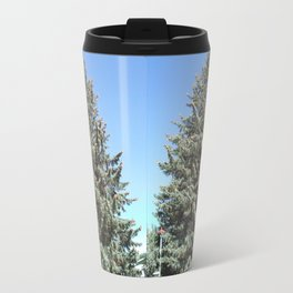 Colorado Blue Spruce, front yard, doubled Travel Mug
