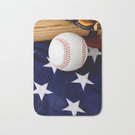 Baseball With Bat On American Flag Bath Mat