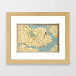 Vintage Map of Boston MA (1890) Framed Art Print
