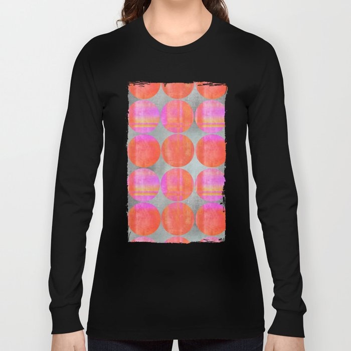 orange dots grunge mixed media modern pattern Long Sleeve T-shirt