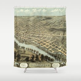 Vintage Pictorial Map of Lafayette Indiana (1868) Shower Curtain