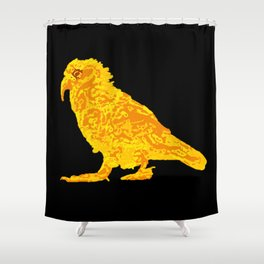 Kea Strut - yellow with black background Shower Curtain