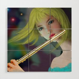 Girl Playing Flute 2 Wood Wall Art
