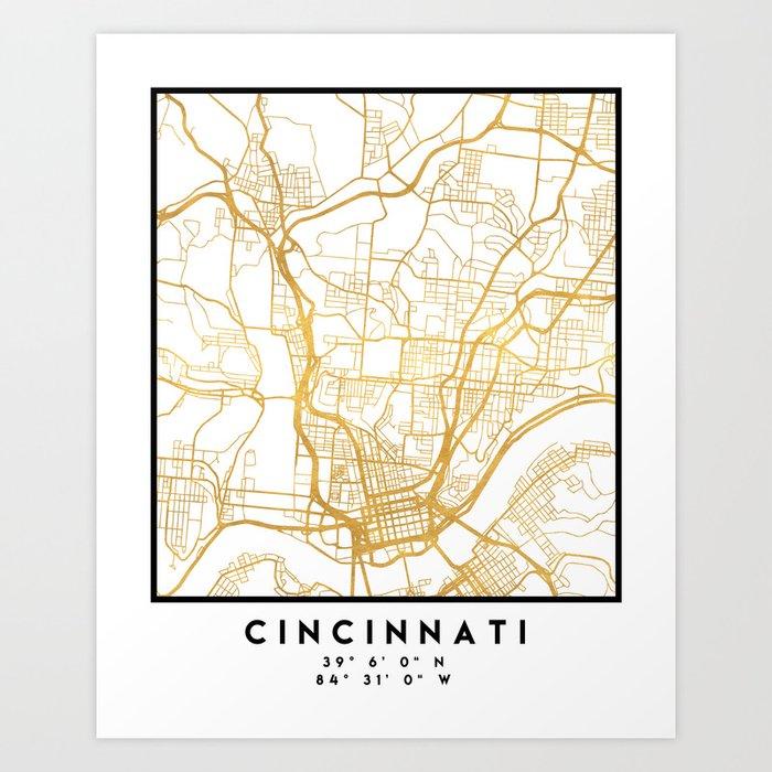 CINCINNATI OHIO CITY STREET MAP ART Art Print by deificusart on