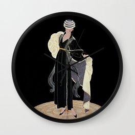 "Art Deco Illustration ""Winter in Paris"" by Erté Wall Clock"