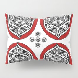 Red Hamsa Illustration Pillow Sham