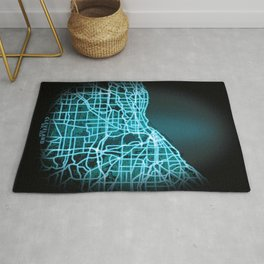 Cleveland, OH, USA, Blue, White, Neon, Glow, City, Map Rug