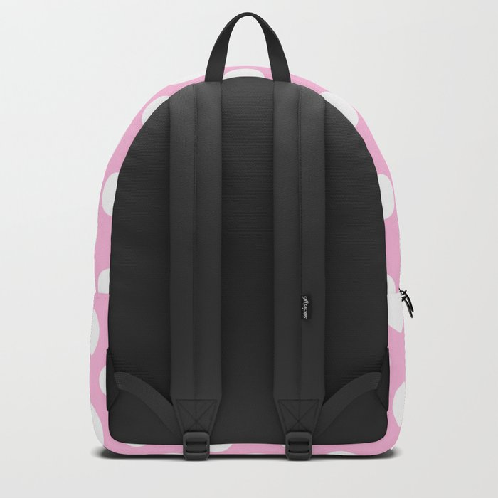 White polkadots dots polkadot circles on pink #Society6 Backpack