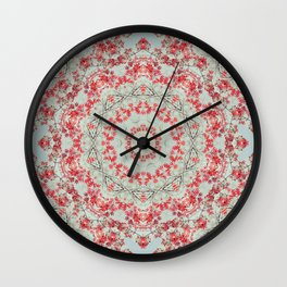 Flight of the Red Maple Tree -- Dreamy Mandala, Medallion, Kaleidoscope in Vintage Tones Wall Clock