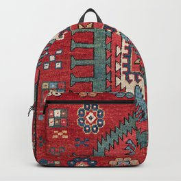 Tribal Honeycomb Palmette IV // 19th Century Authentic Colorful Red Flower Accent Pattern Backpack