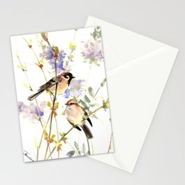 Sparrows and Spring Blossom Stationery Cards