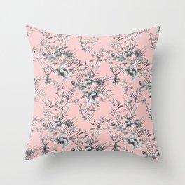 Chinoiserie Flowers Millennial Pink Throw Pillow