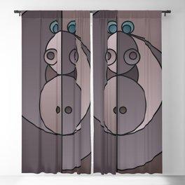 ANIminiMAL - Animal Minimal Hippo Art Print Blackout Curtain
