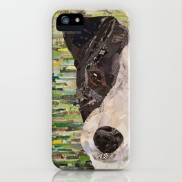 dog collage on canvas green iPhone Case