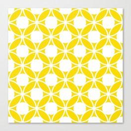 Geometric Floral Circles Summer Sun Shine White on Bright Yellow Canvas Print