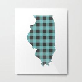 Illinois Plaid in Mint Metal Print