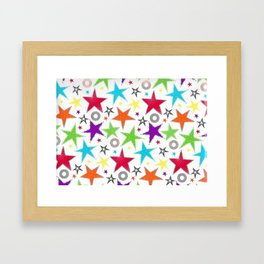 Trendy colourful star Framed Art Print