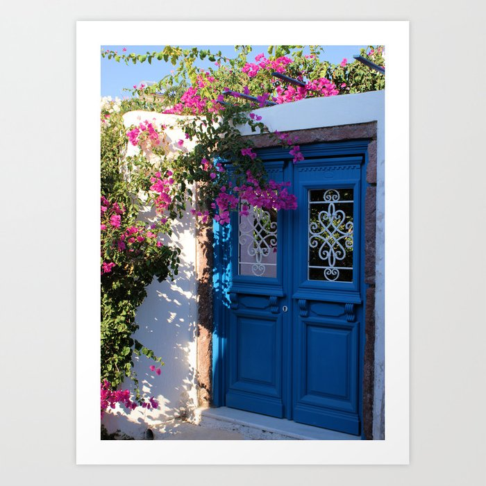 Greek Santorini Doors Art Print