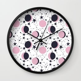 Modern Moon and Star Pattern Wall Clock