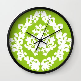 Damask Green and White Victorian Lace Damask Wall Clock