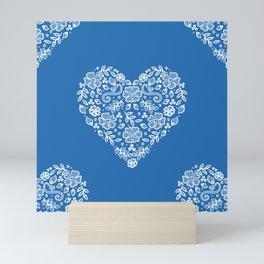 Azure Strong Blue Heart Lace Flowers Mini Art Print