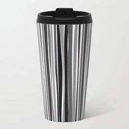 Retro Stripes Black, White & Grey Travel Mug