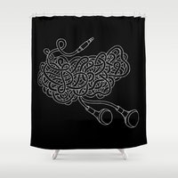headphones Shower Curtains featuring Tangled Headphones by Insait disseny