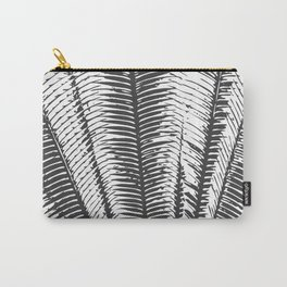 Black and White Modern Tropical Palm Fronds Carry-All Pouch