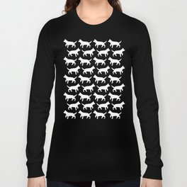 Black with white dogs pattern  Long Sleeve T-shirt