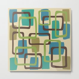 Mid Century Modern Overlapping Squares Pattern 125 Metal Print